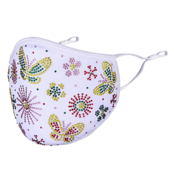 DESTINY CRYSTAL BUTTERFLY & FLOWER FACE MASK - WHITE