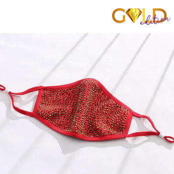 DESTINY GOLD CRYSTAL FACE MASK - RED