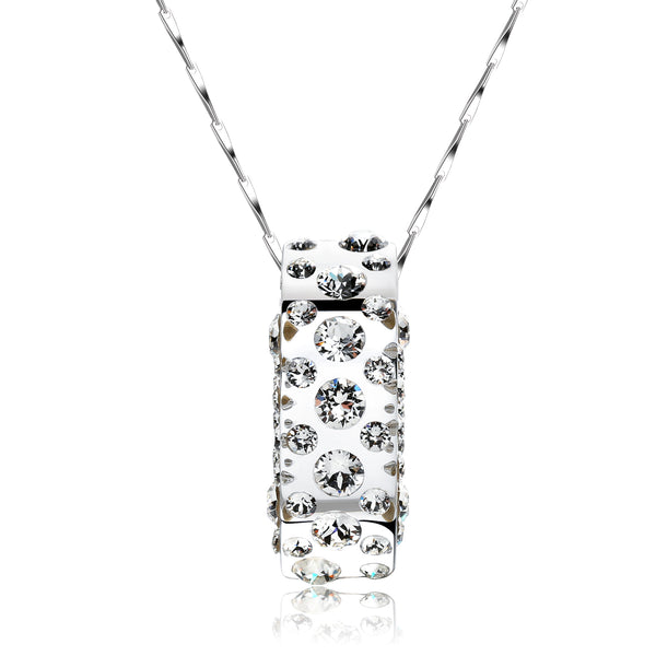 Gerada White Floating Crystal Half Moon Pendant