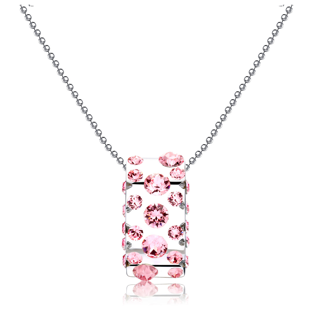 Gerada Pink Floating Crystal Half Moon Pendant