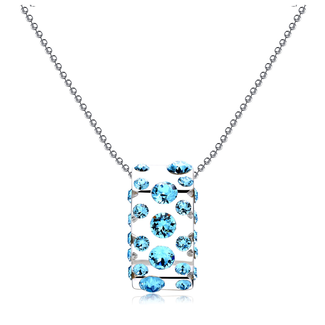 Gerada Blue Floating Crystal Half Moon Pendant
