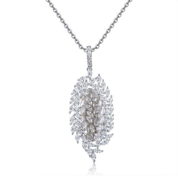 Amara Light Grey Stone & Designer Shape CZ Pendant