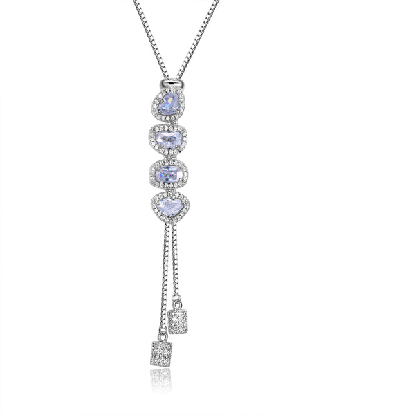 Andrea Y Shape Necklace with White Crystal Facets