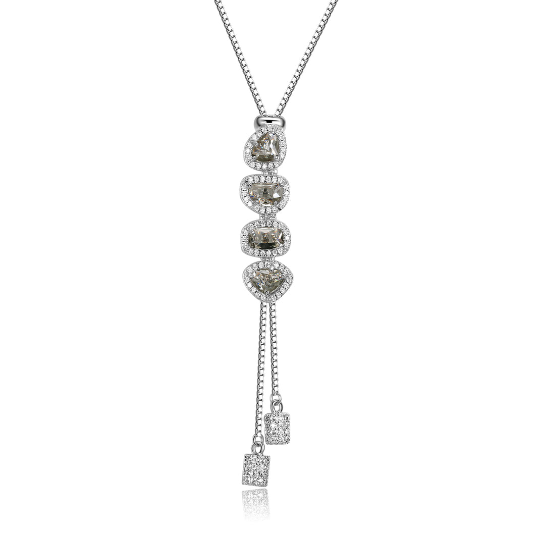 Andrea Y Shape Necklace with Light Grey Crystal Facets