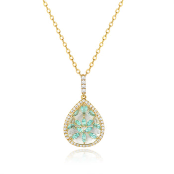 Calista Gold Clear Stone with Blue CZ Backing Pendant