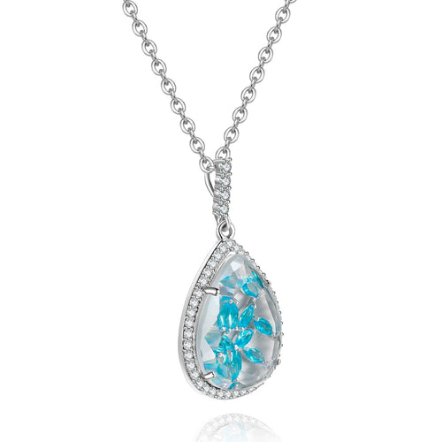 Calista Clear Stone with Blue CZ Backing Pendant