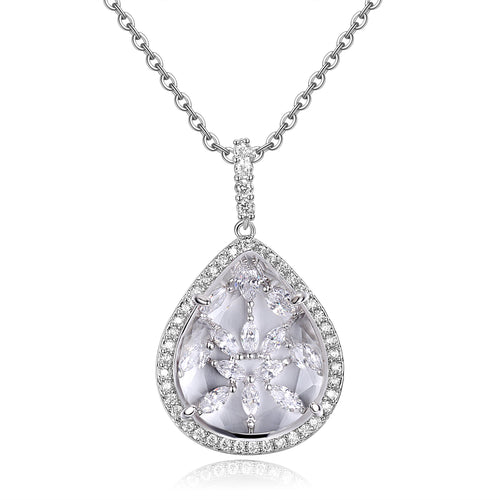 Calista Clear Stone with CZ Backing Pendant