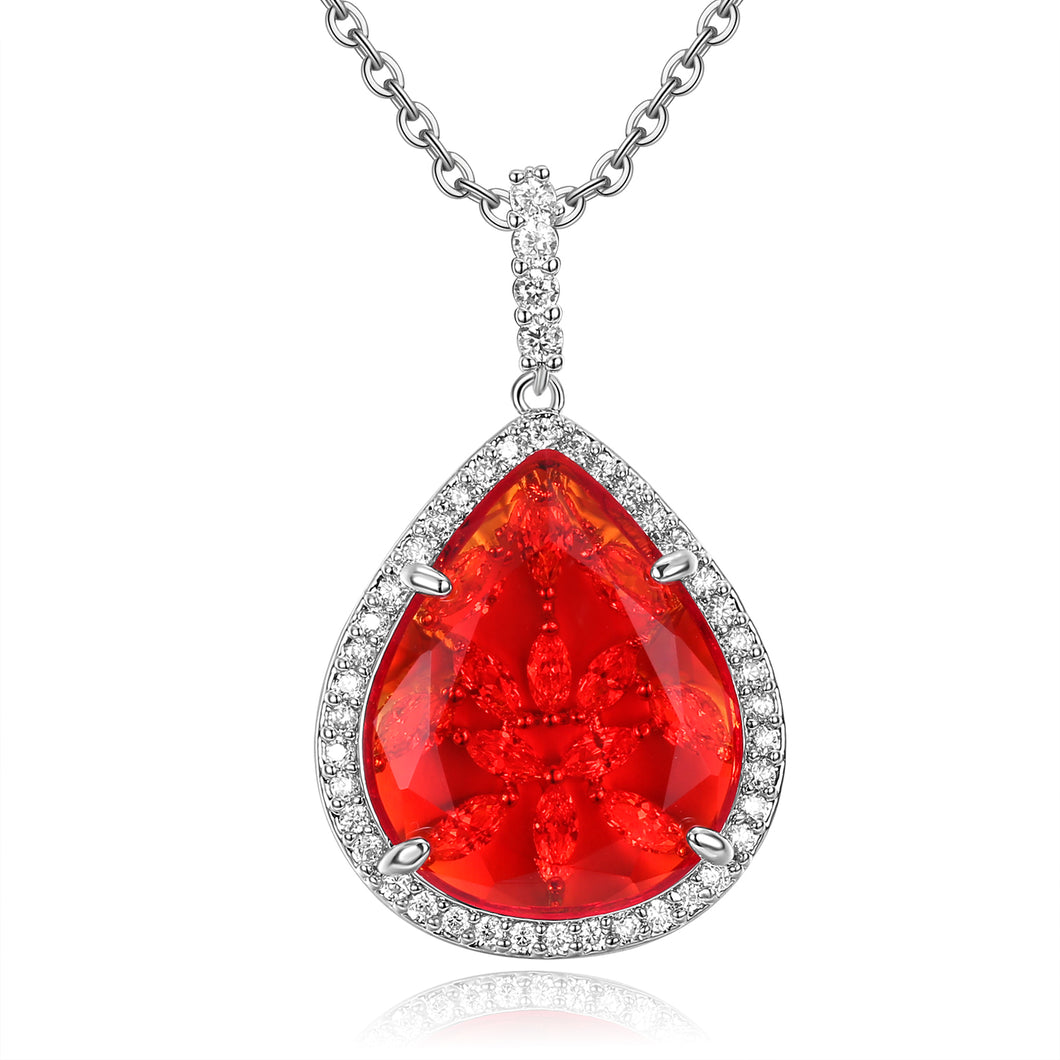 Calista Red Stone with CZ Backing Pendant
