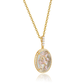 Bridget Gold Clear Stone with Light Pink CZ Backing Pendant