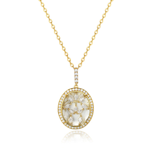 Bridget Gold Clear Stone with CZ Backing Pendant
