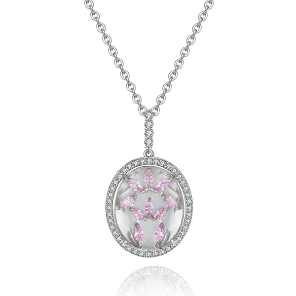 Bridget Clear Stone with Light Pink CZ Backing Pendant
