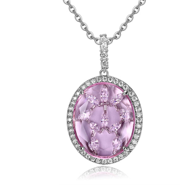 Bridget Light Pink Stone with CZ Backing Pendant