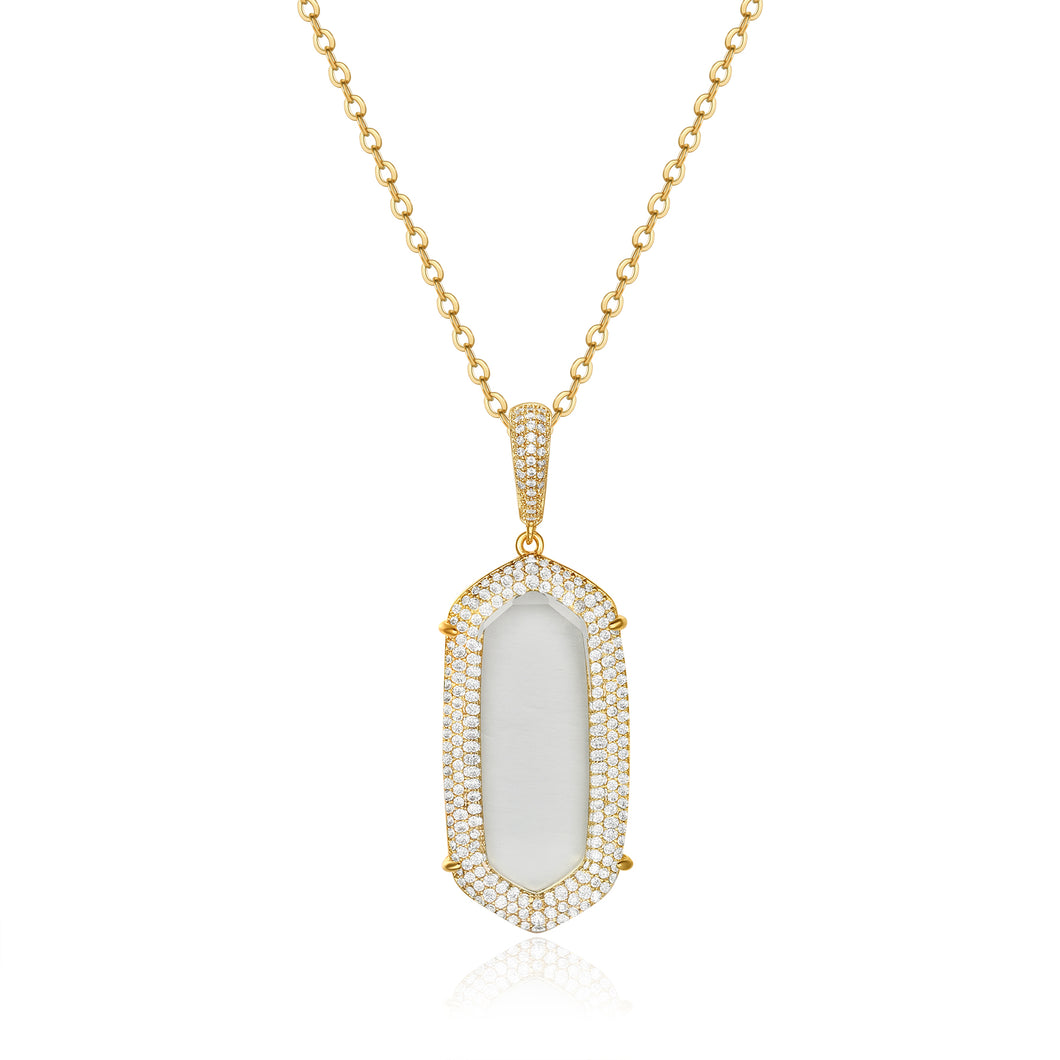 Jamilla Gold Pendant with Clear Crystal