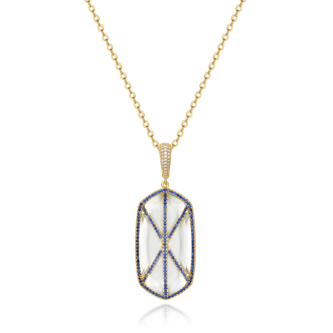 Audra Gold Pendant with Blue Crystal Stone