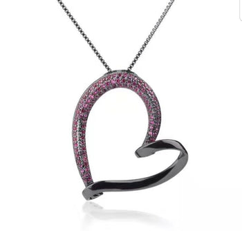 Fuchsia & Black Heather Heart Pendant