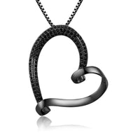 Black Heather Heart Pendant