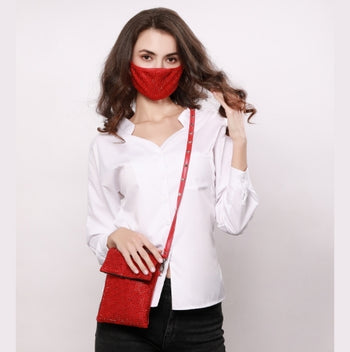 JESSIE RED 2 STRAP CROSS BODY PURSE WITH *FREE MATCHING DESTINY MASK