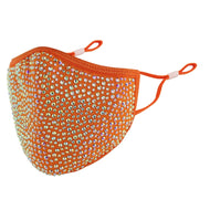 DESTINY CRYSTAL FACE MASK - ORANGE WITH AB CRYSTALS