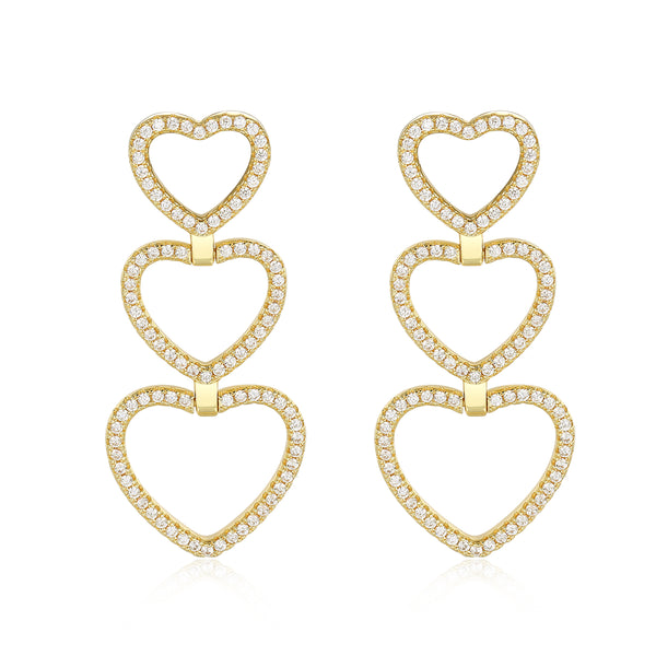 Aurora Heart Shaped Earrings in Gold