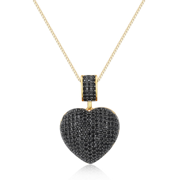 Patricia Heart Necklace with Black Cubic Stones