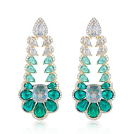 Emily Designer Earrings with Green Cubic Zirconia