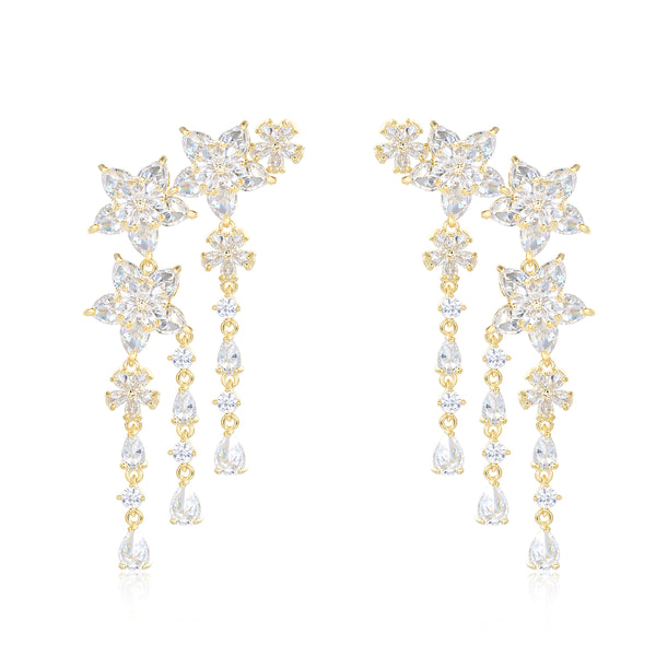 Bella Gold Designer Drop Earrings with Flowers