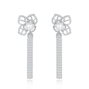 Peyton Pearl and Cubic Designer Earrings