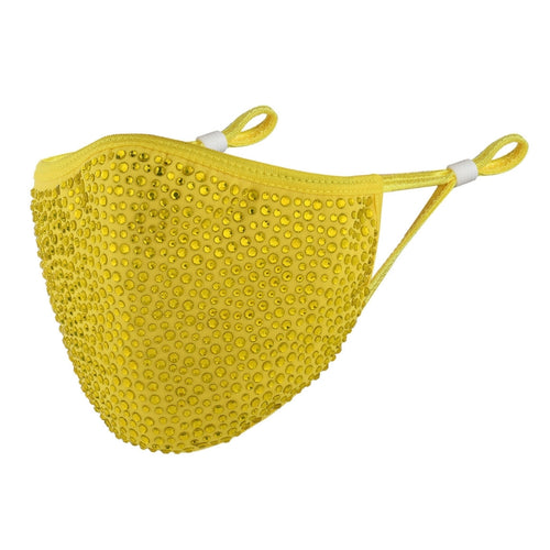 DESTINY CRYSTAL FACE MASK - YELLOW WITH YELLOW CRYSTAL RHINESTONES