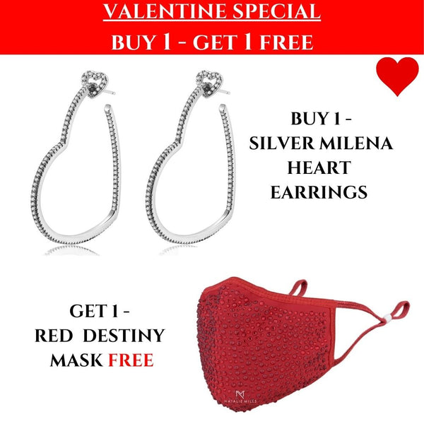 VALENTINES SPECIAL: Milena Heart Earrings & Red Mask!