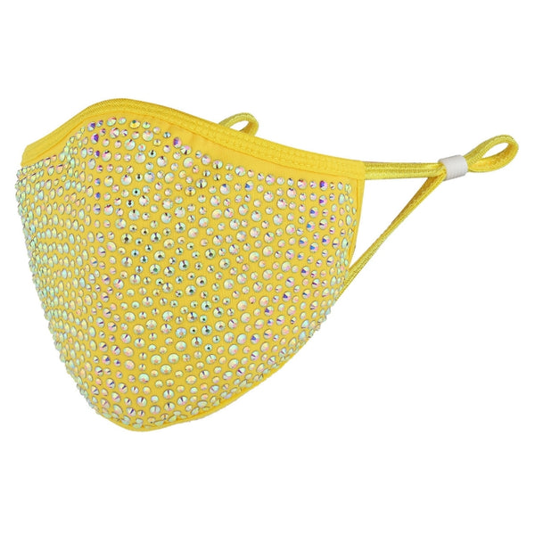 DESTINY CRYSTAL FACE MASK - YELLOW WITH AB CRYSTAL RHINESTONES
