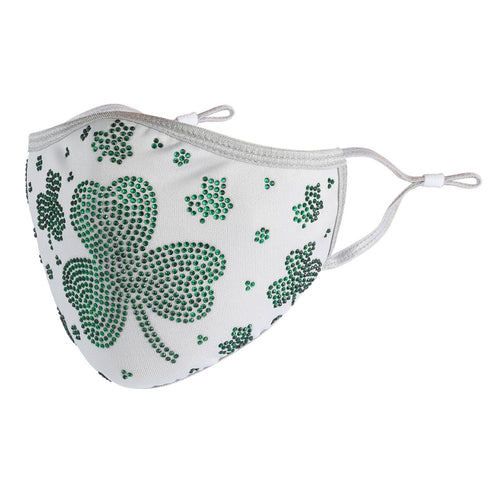 St Patrick's Day Collection! Grey Cotton with Green Crystal Clover
