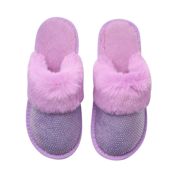 SADIE SLIPPERS - PURPLE WITH AB CRYSTALS