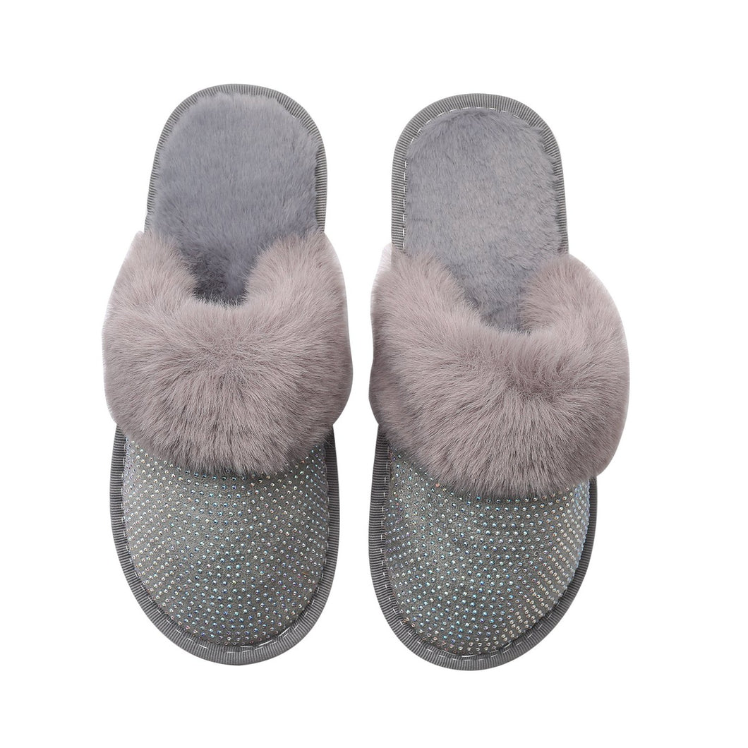 SADIE SLIPPERS - GREY WITH AB CRYSTALS