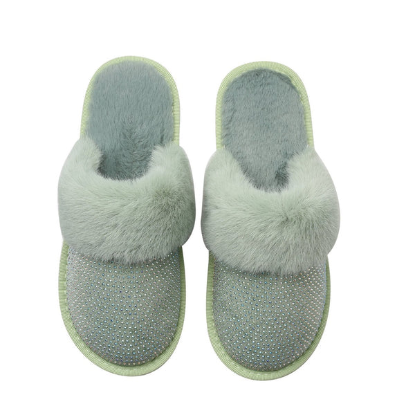 SADIE SLIPPERS - GREEN WITH AB CRYSTALS