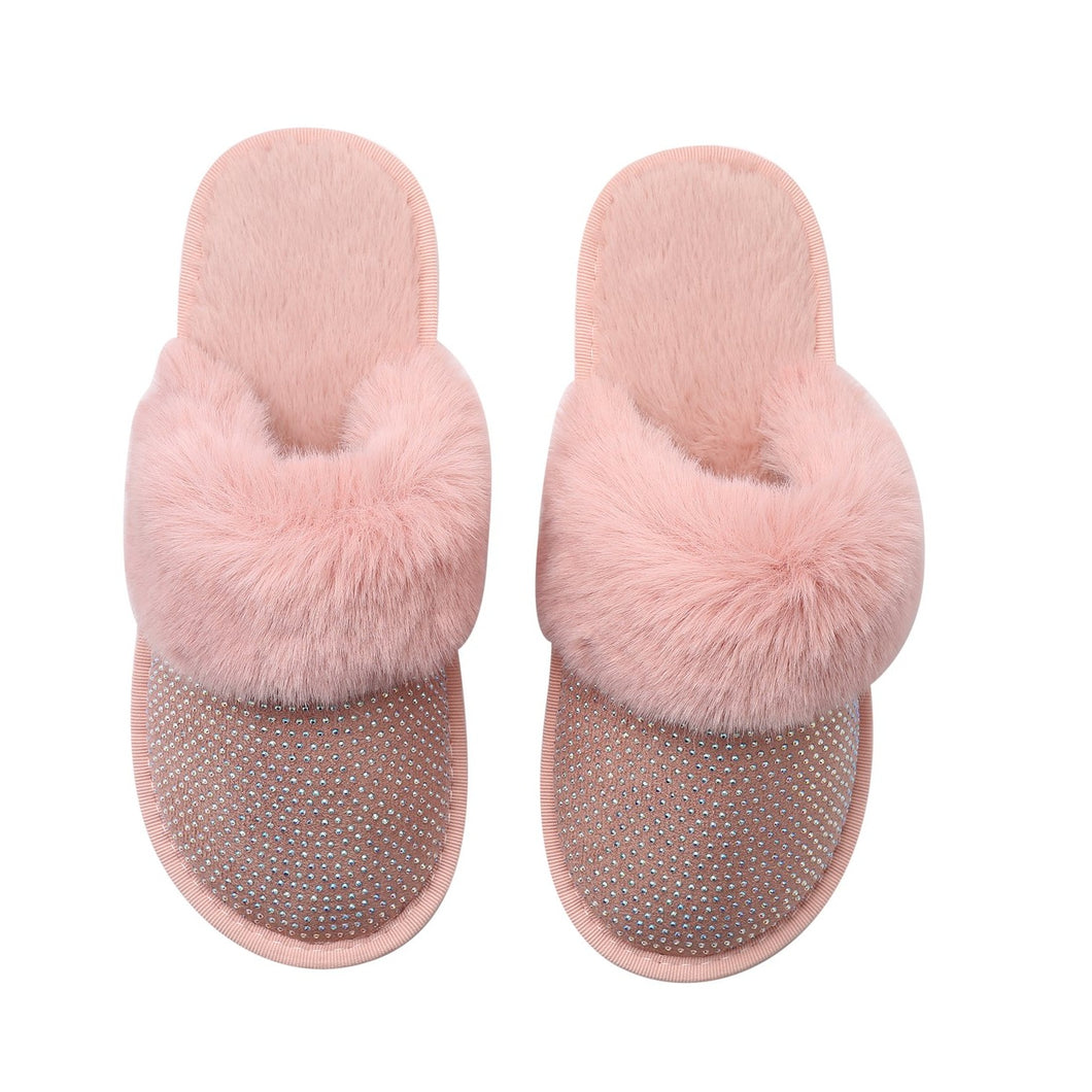 SADIE SLIPPERS - PINK WITH AB CRYSTALS