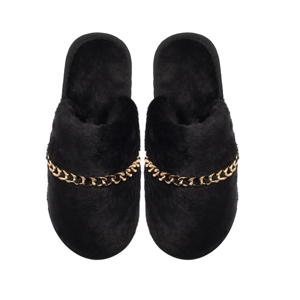 BIANCA SLIPPERS - BLACK WITH GOLD CHAIN