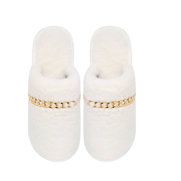 BIANCA SLIPPERS - WHITE WITH GOLD CHAIN