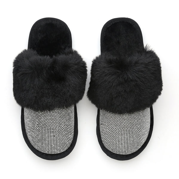 AMELIA GLAMPERS! Black Slippers with A Crystal Strip