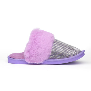 AMELIA SLIPPERS - PURPLE WITH FILLED LAYERS OF AB CRYSTALS