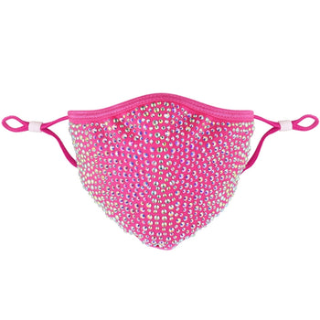 DESTINY CRYSTAL FACE MASK - DARK PINK WITH AB CRYSTALS
