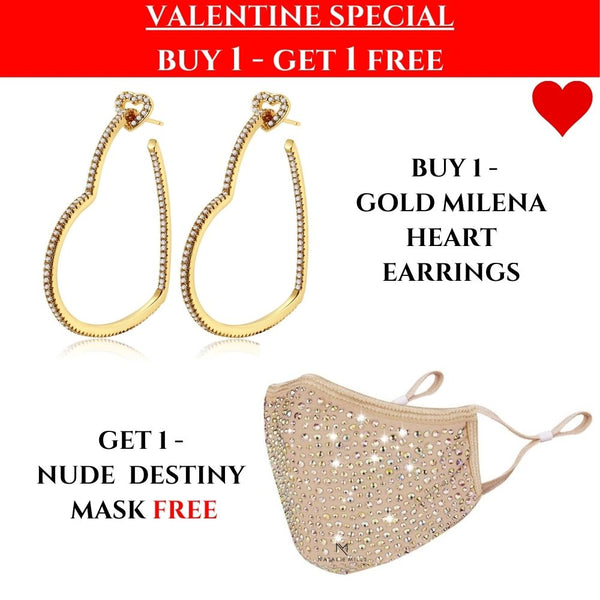 VALENTINES SPECIAL: Milena Heart Earrings & Nude Mask!