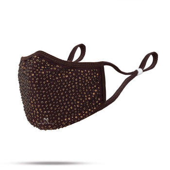 DESTINY CRYSTAL FACE MASK - DARK BROWN & GOLD CRYSTAL