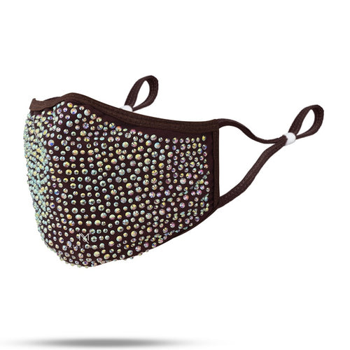 DESTINY CRYSTAL FACE MASK - DARK BROWN & AB PEARL CRYSTAL