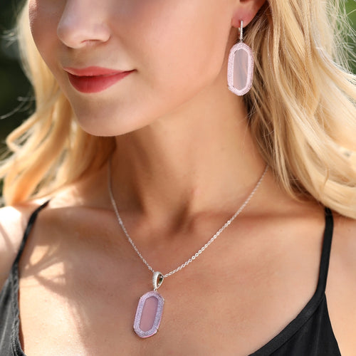 Jamilla Pendant with Light Pink Crystal