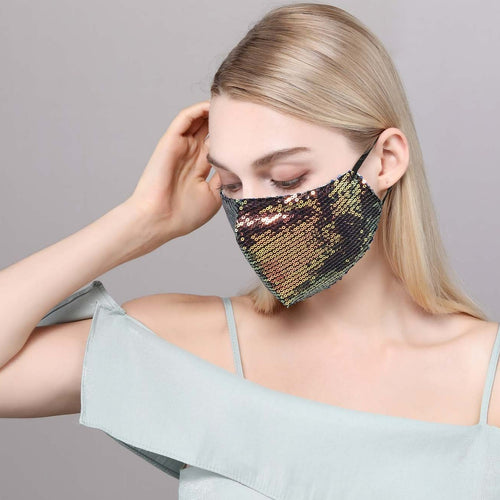 Misty Gold Iridescent Sequin Mask