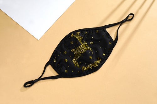 CHRISTMAS COLLECTION - REINDEER IN BLACK & GOLD CRYSTAL