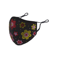 DESTINY CRYSTAL FLOWER FACE MASK - BLACK