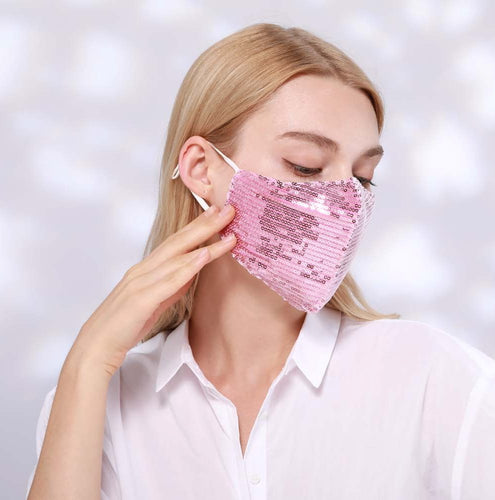 STELLA SEQUIN FACE MASK - PINK