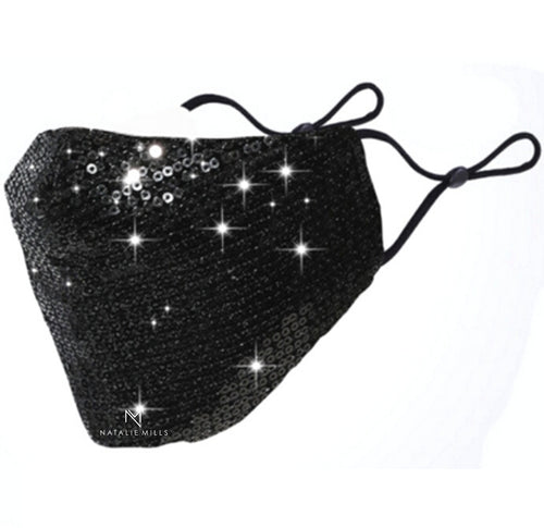 STELLA SEQUINED FACE MASK - BLACK