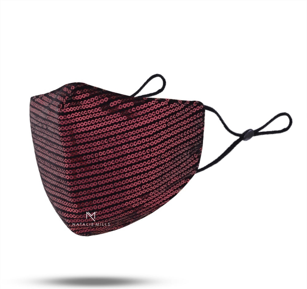 STELLA SEQUIN FACE MASK - MAROON